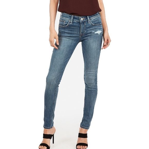 Express Denim - EXPRESS Mid Rise Medium Wash Ripped Ankle Leggings